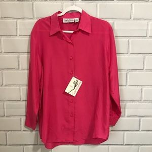 DIANE VON FURSTENBERG Pink Silk Blouse Top Small